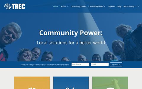 Screenshot of Home Page trec.on.ca - TREC   Renewable Energy & Social Finance   - captured Nov. 7, 2017