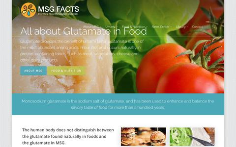 Screenshot of Home Page msgfacts.com - Facts about MSG, Monosodium Glutamate and Umami - The Glutamate Association - captured June 30, 2018