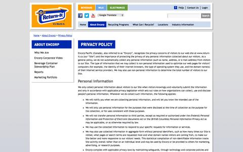 Screenshot of Privacy Page return-it.ca - Encorp Pacific (Canada) - Privacy Policy - captured Sept. 19, 2014