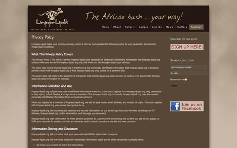 Screenshot of Privacy Page limpopo-lipadi.org - Privacy Policy - captured Sept. 25, 2014