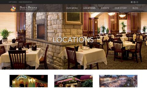 Screenshot of Locations Page boinabraza.com - Unique Brazilian Dining in Grapevine & Irving, TX | Boi Na Braza - captured Aug. 3, 2018