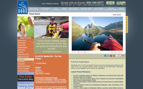 Screenshot of Press Page oars.com - News; Newsmedia Press Information; Media Kit for O.A.R.S. - captured Sept. 19, 2014