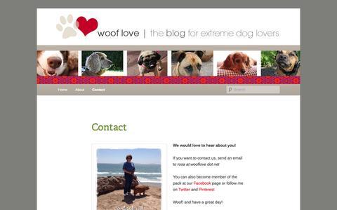 Screenshot of Contact Page wordpress.com - Contact   Dog Lovers Blog   Art. Dogs. Design   Woof Love - captured Oct. 26, 2014