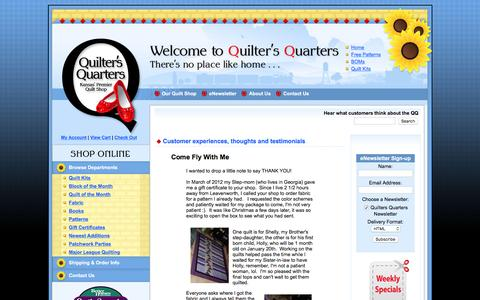 Screenshot of Testimonials Page quiltersqtrs.com - Customers Share their experience with Quilter's Quarters,Shop Updates and Special Events - captured April 10, 2017