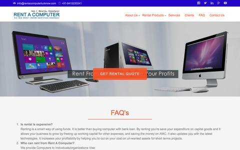 Screenshot of FAQ Page rentacomputerlucknow.com - FAQ   Rent A Computer - captured Oct. 4, 2017