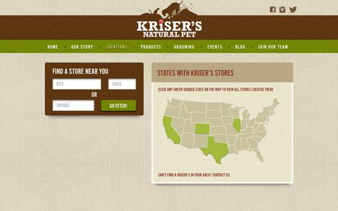 Screenshot of Locations Page krisers.com - Locations | Natural Pet Supplies & Grooming | Kriser's - captured Nov. 20, 2015