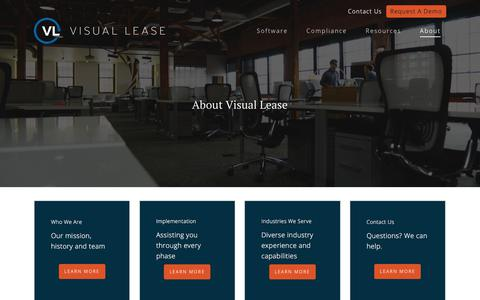 Screenshot of About Page visuallease.com - About Visual Lease | Comprehensive Lease Accounting Software - captured Sept. 23, 2019