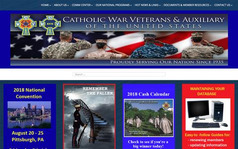 Screenshot of Home Page cwv.org - Catholic War Veterans & Auxiliary - captured July 2, 2018