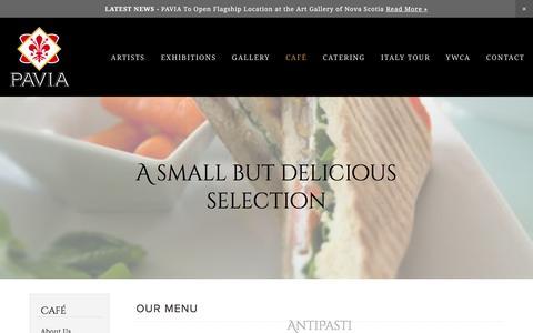 Screenshot of Menu Page paviagallery.com - Our Menu — Pavia Gallery | Fine Art, Casual Food & Imported Florentine Espresso - captured Jan. 26, 2016