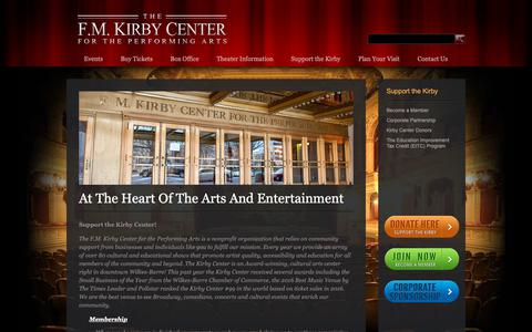 Screenshot of Support Page kirbycenter.org - At The Heart Of The Arts And Entertainment - The F.M. Kirby Center for the Performing Arts - captured Oct. 2, 2018