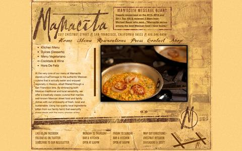 Screenshot of Menu Page mamacitasf.com - Menus - Mamacita - captured Nov. 19, 2016