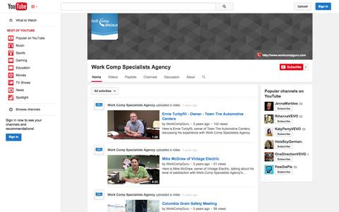 Screenshot of YouTube Page youtube.com - Work Comp Specialists Agency  - YouTube - captured Nov. 3, 2014
