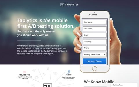 Screenshot of Landing Page taplytics.com - Taplytics - Mobile A/B Testing, Optimization for iOS and Android - captured Sept. 20, 2016