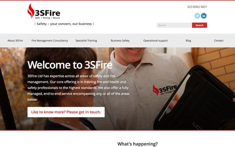 Screenshot of Home Page 3sfire.co.uk - Bespoke Fire Training | Business Fire Safety Solutions | 3SFire Ltd. - captured Aug. 17, 2016