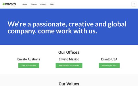 Screenshot of Jobs Page envato.com - Careers - Envato - captured Sept. 15, 2019