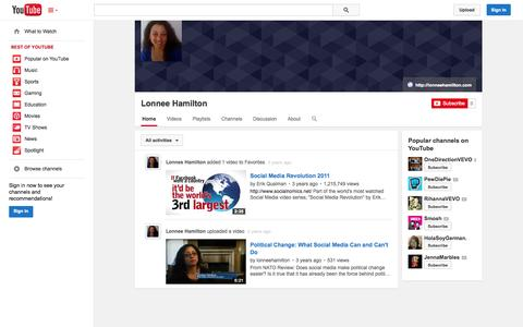 Screenshot of YouTube Page youtube.com - Lonnee Hamilton  - YouTube - captured Oct. 22, 2014