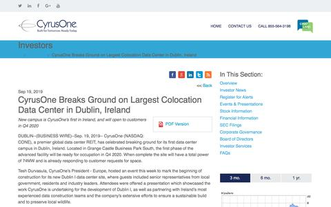 Screenshot of Press Page cyrusone.com - CyrusOne Breaks Ground on Largest Colocation Data Center in Dublin, Ireland | CyrusOne - captured Nov. 27, 2019