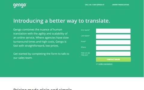 Screenshot of Landing Page gengo.com - Translation Agency without minimums or high costs.  |  Gengo - captured Oct. 27, 2014