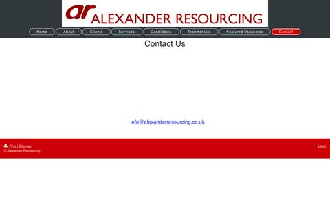 Screenshot of Contact Page alexanderresourcing.co.uk - Tailored Recruitment Solutions - captured May 29, 2017