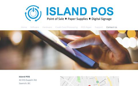 Screenshot of Contact Page islandpos.ca - Contact Us - Island Point of Sale  1.888.710.iPOS - captured Sept. 20, 2018