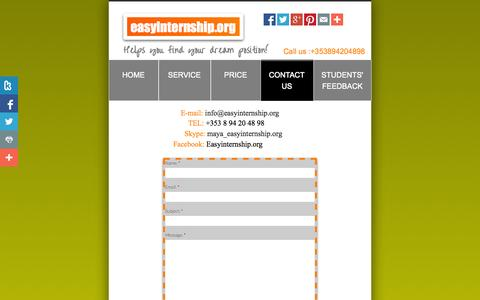 Screenshot of Privacy Page Contact Page easyinternship.org - Contact Us - captured Oct. 23, 2014