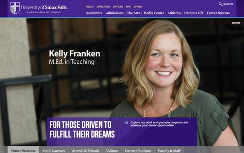 Screenshot of Home Page usiouxfalls.edu - Home - University of Sioux Falls - captured Feb. 18, 2016
