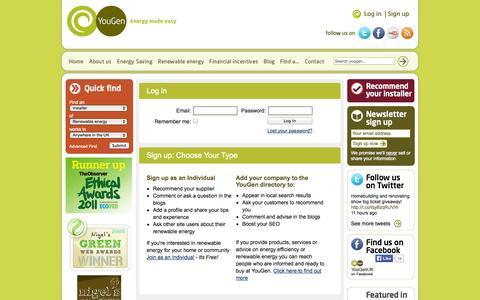 Screenshot of Login Page yougen.co.uk - Login | YouGen, Renewable Energy Made Easy - captured Sept. 23, 2014