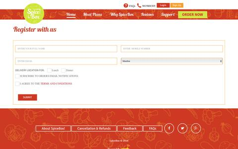 Screenshot of Signup Page spicebox.in - SpiceBox! Mumbai Online Meals and Tiffin Service - captured Oct. 27, 2017