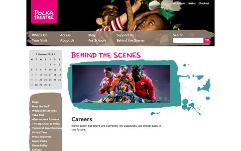 Screenshot of Jobs Page polkatheatre.com - Polka Theatre - World-class theatre for children - captured Oct. 3, 2014
