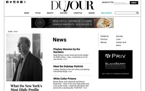 Screenshot of Press Page dujour.com - News: Celebrity Interviews, and Trends. DuJour - captured Aug. 25, 2016
