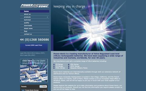 Screenshot of Home Page power-sonic.co.uk - Battery Manufacturers - Power-Sonic - captured Sept. 30, 2014