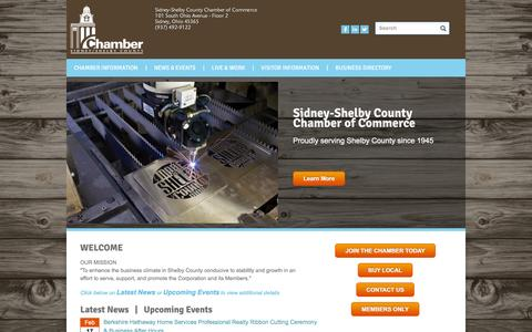 Screenshot of Home Page sidneyshelbychamber.com - Sidney-Shelby County Chamber of Commerce | Sidney, OH - Home - captured Feb. 14, 2016