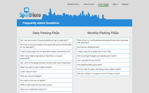 Screenshot of FAQ Page spothero.com - Frequently Asked Questions - captured Sept. 17, 2014