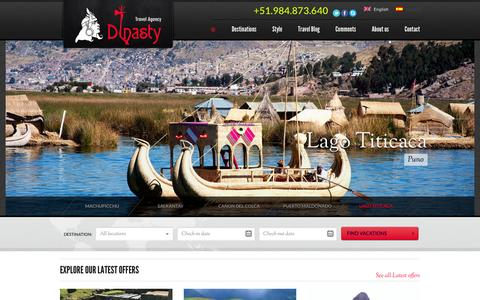 Screenshot of Home Page incadinasty.com - Inca Dinasty | Peruvian Travel Agency - captured Feb. 10, 2016
