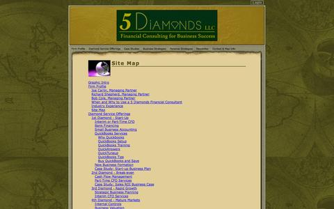 Screenshot of Site Map Page 5diamondsconsulting.com - Cary, NC Business Financial Consulting / 5 Diamonds, LLC - captured Oct. 2, 2014