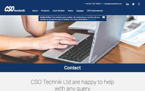 Screenshot of Contact Page csotechnik.com - Contact Us - CSO Technik - captured July 10, 2017