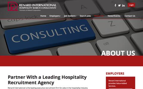 Screenshot of About Page renardinternational.com - Careers in the Hospitality Industry | Renard International - captured Nov. 9, 2017