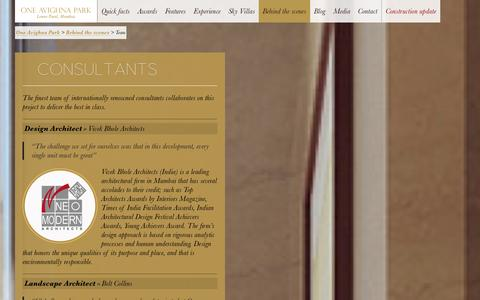 Screenshot of Team Page oneavighnapark.com - The Finest Team of Internationally Renowned Consultants - One Avighna Park - captured Sept. 30, 2014