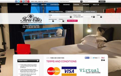Screenshot of Terms Page threecities.co.za - Terms and Conditions - Hotels Durban | Hotels Gauteng | Hotels Cape Town - captured Sept. 24, 2014