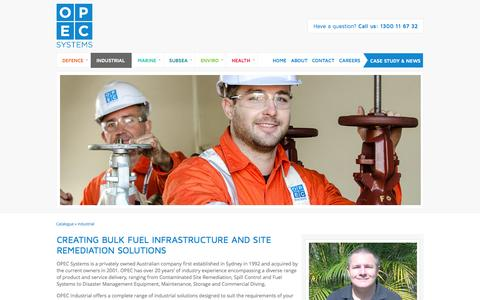 Screenshot of opecsystems.com - Bulk Fuel Infrastructure and Equipment, Site Remediation Management Solutions; OPEC Systems - captured Oct. 12, 2014