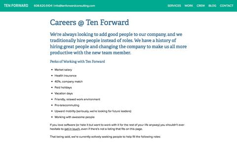 Screenshot of Jobs Page tenforward.consulting - Careers - captured Nov. 16, 2017