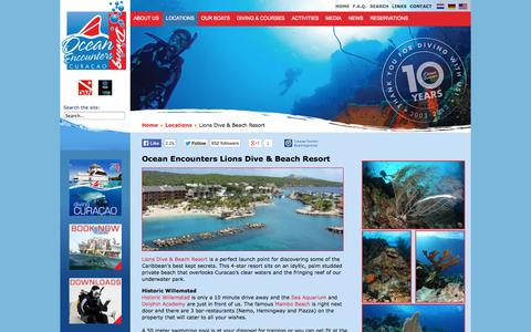 Screenshot of Locations Page oceanencounters.com - Our location at Lions Dive & Beach Resort | Ocean Encounters Diving Curacao - captured Oct. 9, 2014