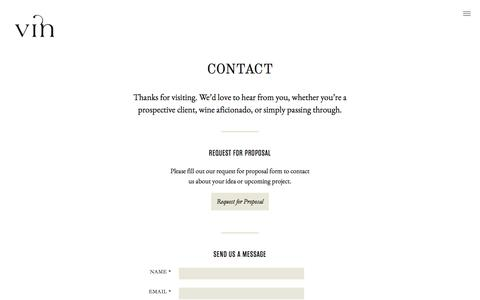 Screenshot of Contact Page vinagency.com - Contact | Vin – Fine Design & Communication for the Wine World - captured Feb. 17, 2016