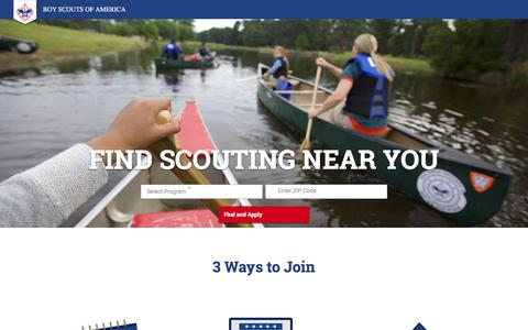 Screenshot of Signup Page scouting.org - Boy Scouts of America - captured June 19, 2018