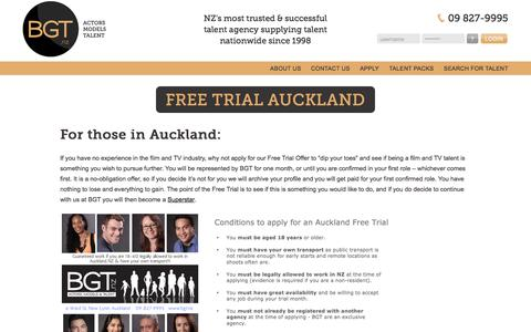 Screenshot of Trial Page bgt.nz - Free Trial Auckland - captured July 6, 2018
