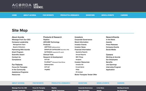 Screenshot of Site Map Page acorda.com - Biopharmaceutical Company Site Map | Acorda.com - captured July 22, 2016