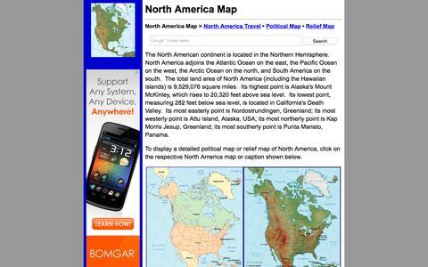 Screenshot of Home Page north-america-map.com - North America Map - North America Maps - captured Oct. 10, 2015