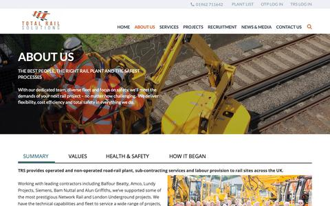 Screenshot of About Page totalrailsolutions.co.uk - Road-rail plant hire specialists - on-track plant hire | Total Rail Solutions - captured Oct. 18, 2018