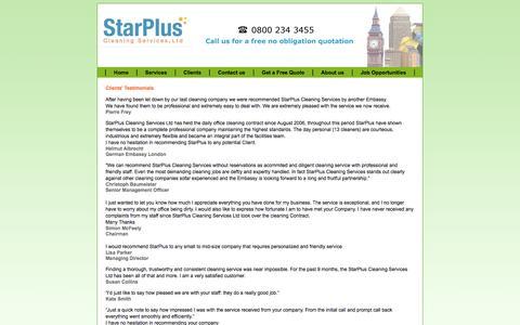 Screenshot of Testimonials Page starplusservices.com - Cleaning supplies Testimonials - captured Oct. 7, 2014