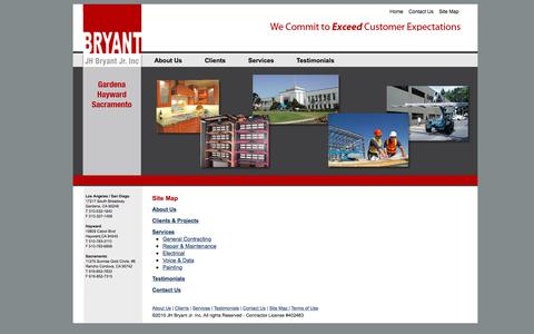 Screenshot of Site Map Page jhbryant.com - J.H. Bryant Construction» - captured Nov. 18, 2016